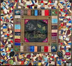 Pickwick Papers Crazy Quilt, Ella B. Chase, 1890–1900.  Collection of Shelburne Museum (Vermont). in: Beyond the Bed: The American Quilt Evolution. Katonah Museum of Art (New York), February 24 - June 16, 2013.