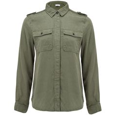 Frame Denim Le Military Shirt - Military Green ($290) ❤ liked on Polyvore featuring tops, shirts, military green, pleated top, army green shirt, long sleeve shirts, olive long sleeve shirt and olive green top