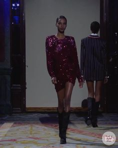 Burgundy Evening Mini Dress / Short Dress with Round Neckline and Long Sleeves. Fall Winter 2020 / 2021 Ready-to-Wear Collection. Runway Show by Redemption.