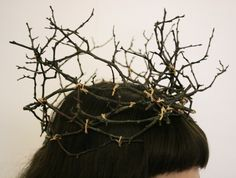 Twig Crown   Fit for Oberon or Titania, a bride or a fawn. This crown is made from twigs gathered off a fallen tree in the forest. Each branch is bound to together with tea dyed cotton string.