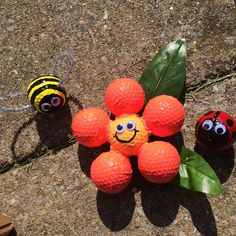 Golf Ball Flowers, Golf Ball Bumble Bee, Golf Ball Ladybug