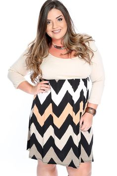 Make a statement with this sexy and stylish dress! Featuring quarter sleeves, scoop neck, above knee length, chevron print and semi fitted. 95% Polyester, 5% Spandex