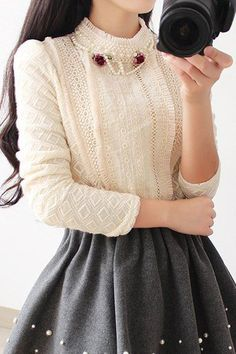 Romantic Victorian inspired blouse - Vintage Stand Collar Long Sleeves Beaded Lace Blouse For Women $31.19 AT vintagedancer.com