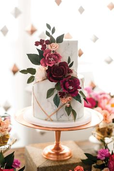 A Vibrant, Industrial-Chic Wedding In Cambridge, Ontario. Wedding cake ideas floral wedding cakes A Vibrant, Industrial-Chic Wedding In Cambridge, Ontario Floral Wedding Cakes, Elegant Wedding Cakes, Wedding Cake Designs, Chic Wedding, Wedding Cake Flowers, Cake With Flowers, Copper Wedding Cake, 2 Tier Wedding Cakes, Burgundy Wedding Cake