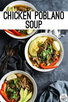 Hearty but simple, this chicken poblano soup makes a perfect weeknight recipe or meal prep idea! With a broiler, you can roast poblano peppers at home for this simple paleo poblano recipe. It's also Whole30, keto, and low carb.