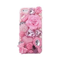 MinisDesign 3D Bling Luxury Design Rhinestone Pink Flowers Fairy-Tale... (68 ARS) ❤ liked on Polyvore featuring accessories, tech accessories, phones, phone cases, fillers, tech and iphone smartphone
