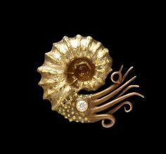 Bronze and copper Ammonite brooch by Gordon Uyehara.
