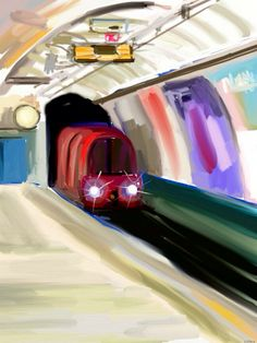 London Underground station - Spent a few minutes sketching the moment whiles waiting for a train. Had to miss two trains in order to capture the approaching quality of the train!