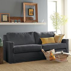 West Elm offers modern furniture and home decor featuring inspiring designs and colors. Create a stylish space with home accessories from West Elm. Home Living Room, Living Room Furniture, Home Furniture, Living Room Decor, Rv Living, Black Sofa, Gray Sofa, Modern Sofa, Modern Furniture