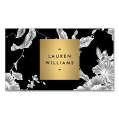 Elegant Black Floral Pattern 3 with Gold Name Logo Business Card Templates