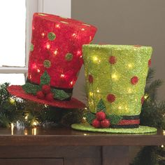 """RAZ Frostyland Top Hat Lighted Christmas decoration 10"""""""
