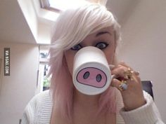 Le piggy.  This has got to be one of the cutest idea's ever!!  You can buy any coffee mug and take a sharpie and draw on them. Bake in the oven at 300 for about 35 minutes.  Draw just about anything; mustache's, noses, etc.  I see these being really cute Christmas presents,