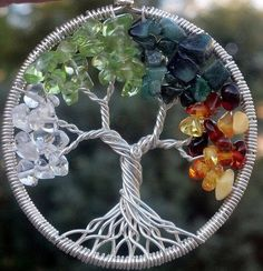 Four Seasons Tree of Life Pendant - Recycled Sterling Silver, Quartz, Peridot, Emerald, Amber - Original Design by Ethora