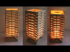 How to make night lamp at home! Diy Projects With Popsicle Sticks, Popsicle Stick Crafts House, Lolly Stick Craft, Craft Stick Crafts, Handmade Lamps, Handmade Decorations, Diy Home Crafts, Easy Crafts, Homer Decor