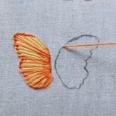 Embroidery butterfly Hand Embroidery Videos, Embroidery Stitches Tutorial, Embroidery Flowers Pattern, Butterfly Embroidery, Embroidery On Clothes, Hand Embroidery Designs, Embroidery For Beginners, Embroidered Flowers, Simple Flower Embroidery Designs