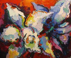 """White Daffodil,"" Acrylic on Canvas, 48 x 61 in."
