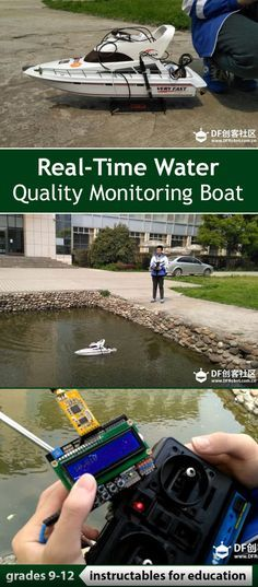 The RC boat is driven into the water area for sample collection through the original remote control unit, and the boat carries relevant sensors to transmit relevant indexes on water quality to the remote control terminal wirelessly.