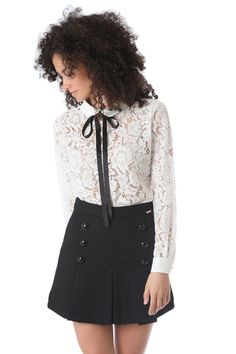 Eyelash lace blouse with black bow tie