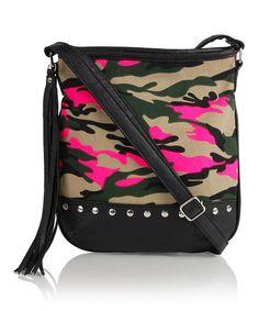 Look at this #zulilyfind! Pink & Black Camo Crossbody Bag by OMG! Accessories #zulilyfinds