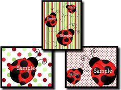 Set of 3 Red Mod Ladybug Girls Bedroom 8x10 Wall by ToadAndLily, $15.00