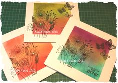 @Cartway Cards One Layer Cards using a mask, distress inks and stamps by Woodware JGS300 Going to Seed and Crafty Individuals Cl - 231 (Butterflies)