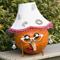 Granny Gourd  Decorate your pumpkin up to look like a funny old lady using a lampshade, old reading glasses, and costume brooches.  lol, tooo cute!!