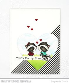 Stamps: Raving Raccoons Die-namics: Raving Raccoons, Tag Builder Blueprints, A2 Stitched Rectangle STAX Set 1, Stitched Heart STAX, Grassy Hills Stencil: Mini Cloud Edges Stephanie Klauck #mftstamps