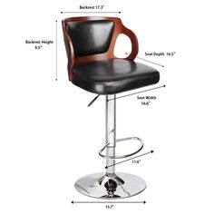 Homall Walnut Bentwood Adjustable Height Leather Bar Stool with Black vinyl seat to decorate your Home,Kitchen,Office Extremely Comfy with seat back pad (Walnut Set of Leather Bar Stools, Adjustable Bar Stools, Kitchen Office, Decorating Your Home, Home Kitchens, Comfy, Chair, Furniture, Black
