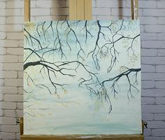 Black Branches ORIGINAL art work Lovers painting Optical