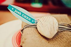 Beach party napkin ring with placecard...