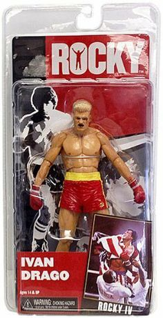 "Neca Rocky - Series 2 - Drago IV Red Trunks - 7"" Action Figure by NECA. $14.39. Ivan Drago available in both yellow and red trunks with unique head sculpts.. Figures have over 20 points of articulation and are highly detailed. A brand new series of Rocky figures based on Rocky IV includes both regular and fight damage versions of Rocky with unique head sculpts including the ""Bloody Spit"" version of Rocky which was the talk of Toy Fair 2012. And what would this ser..."
