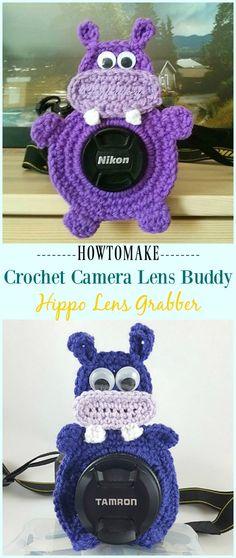 Crochet Hippo Lens Grabber Pattern -#Crochet; Camera #Lens; Buddy Grabber Patterns