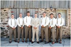 We saved money by not renting suits, the Groom's suit is from JCPenny and the groomsmen's pants are from Dillards, shirts from Macys.