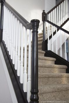 to Paint / Stain Wood Stair Railings (Oak Banisters & Spindles) WITHOUT SANDING! How to Stain/Paint an Oak Banister (the shortcut method.no sanding needed! Wood Railings For Stairs, Stair Banister, Banisters, Basement Stairs, Diy Stair, Basement Plans, Stair Redo, Black Stair Railing, Patio Stairs