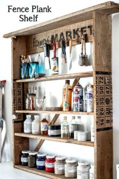 Make this easy storage shelf from fence planks! By Funky Junk Interiors for eBay