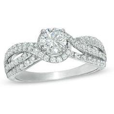 1 CT. T.W. Diamond Swirl Engagement Ring in 14K White Gold blingpinner.com