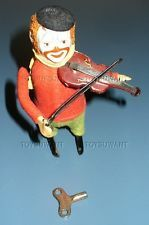 VINTAGE SCHUCO CLOWN VIOLINIST VIOLIN PLAYING TIN WIND-UP TOY GERMANY MECHANICAL
