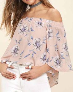 404eaffaed42 Pink Off the Shoulder Floral Print Overlap Blouse – risechic.com Floral  Print Shirt