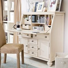 Camden Drop Lid Secretary Desk - Cream at Hayneedle
