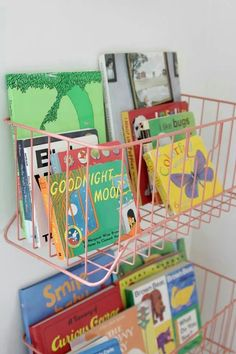 Wire baskets for bookshelves