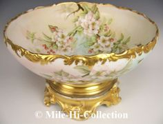 LIMOGES H-PAINTED ROSES & BUMBLEBEES PUNCH BOWL + PLINTH FOOTED | eBay