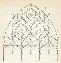 tecla 8 - Gregorio Izzi, Finestra di A. Gaggini. Palazzo Arcivescovile di Palermo, da Corso elementare di disegno geometrico, Palermo 1908, pag. 156