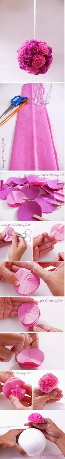 Here you will find the world& best DIY party decoration craft ideas!Making pom-poms out of paper - Rose ball Step Grab Your Craft Supplies. The pre-requisites to make this beautiful DIY Floral Craft for Decoration i. Fun Crafts, Diy And Crafts, Arts And Crafts, Budget Crafts, Decor Crafts, Party Crafts, Art Decor, Flower Crafts, Diy Flowers