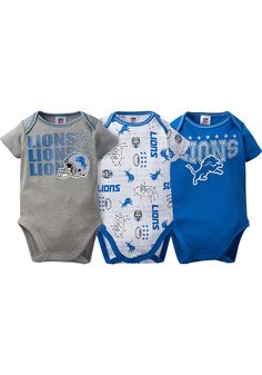 Detroit Lions Baby Blue Trifecta One Piece - Image 1 Detroit Lions T Shirts, Blue One Piece, 3 Piece, Lion Hat, One Piece Images, Tennessee Titans, Baby Blue, Onesies, Infant