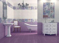 Классический стиль в ванной: фиолетовая плитка с рисунком
