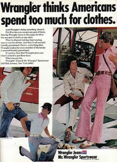 Men's Wrangler jeans ad. Retro. Vintage. Denim.