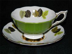 Vintage Royal Stafford Pedestal Based Wide Rim Tea Cup & Saucer Green Leaves