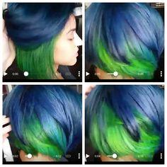 Blue and green bob