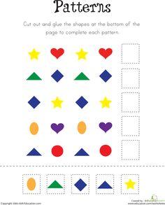 pattern practice kindergarten math worksheetsmathssequencing - Pattern Worksheets Kindergarten Printable