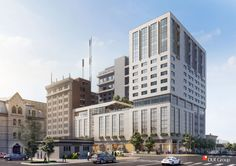 A 15-17 story hotel & condominium complex will rise on the SE corner of 9th & O, the third tallest building in the city and a signature project linking downtown to the Haymarket. The project will include two hotels and 40 to 50 upscale condominiums and penthouses, plus parking, a restaurant and bar, and event space. This will be the tallest structure built in Lincoln since the 1970s and will be the third tallest building behind the Capitol and the downtown U.S. Bank. Block 54